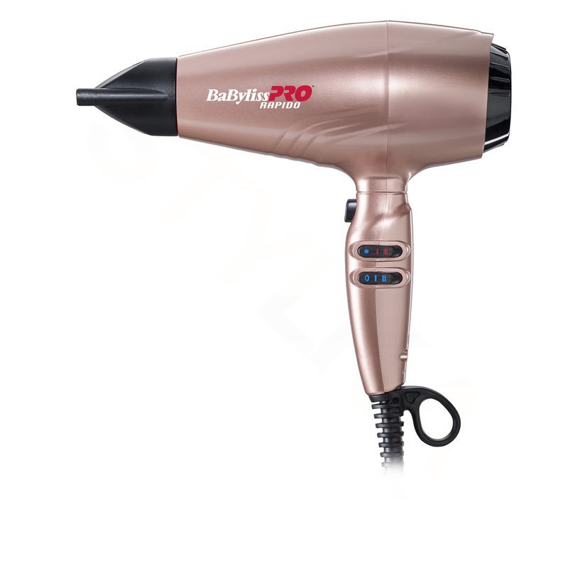 BaByliss PRO BAB7000IRGE Rapido Rose Gold Profesionální fén + cestovní fén BAB5510E