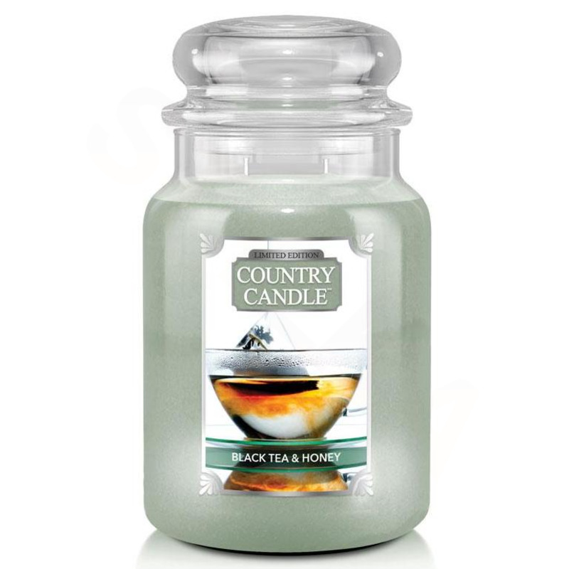 Country Candle Velká vonná svíčka ve skle Black Tea and Honey 652g