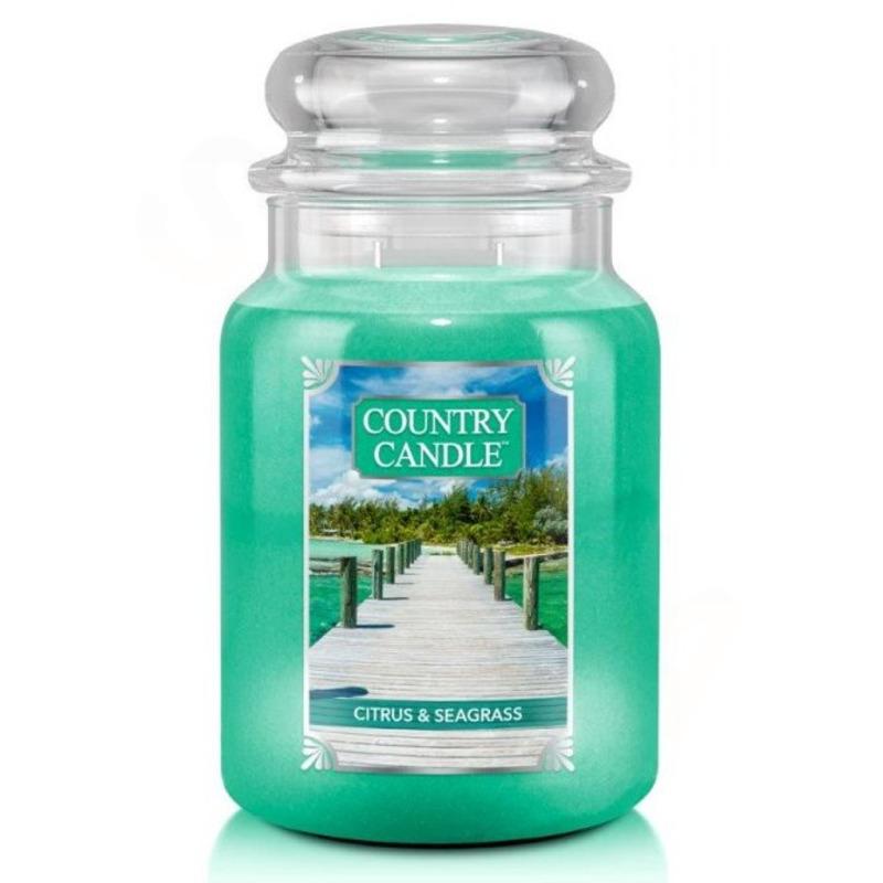 Country Candle Velká vonná svíčka ve skle Citrus and Seagrass 652g