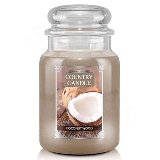 Country Candle Velká vonná svíčka ve skle Coconut Wood 652g
