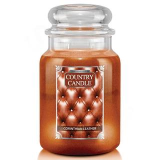 Country Candle Velká vonná svíčka ve skle Corinthian Leather 652g
