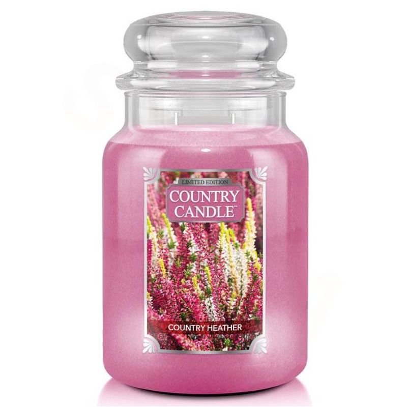 Country Candle Velká vonná svíčka ve skle Country Heather 652g