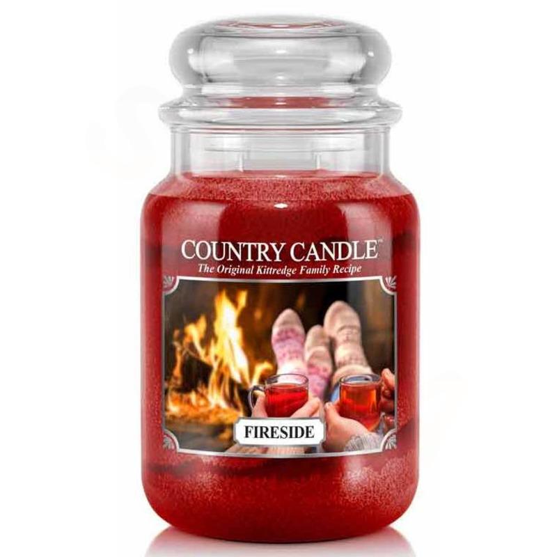 Country Candle Velká vonná svíčka ve skle Fireside 652g