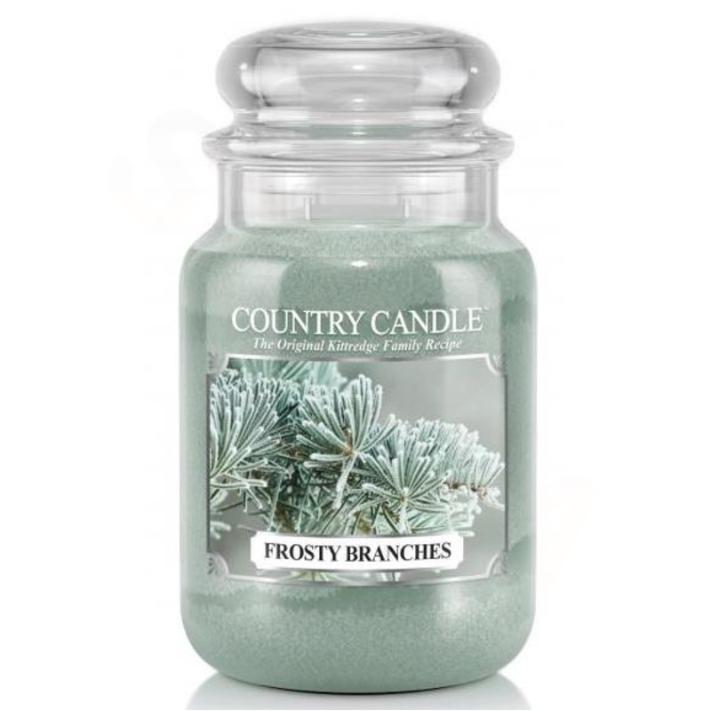 Country Candle Velká vonná svíčka ve skle Frosty Branches 652g
