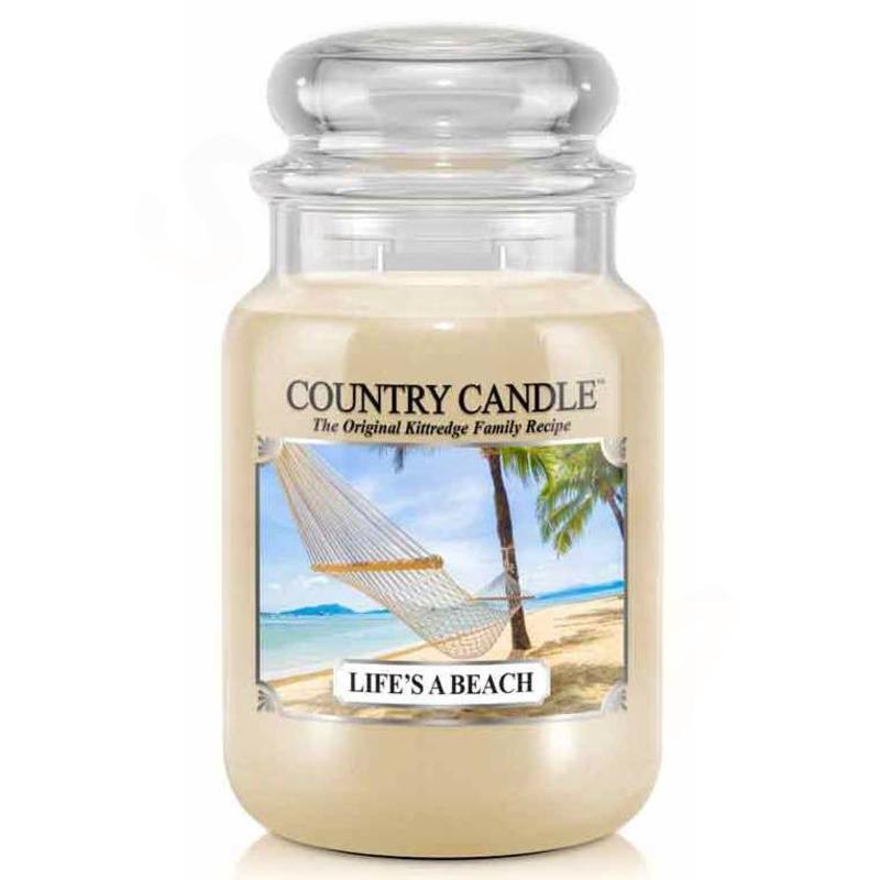 Country Candle Velká vonná svíčka ve skle Life´s a beach 652g