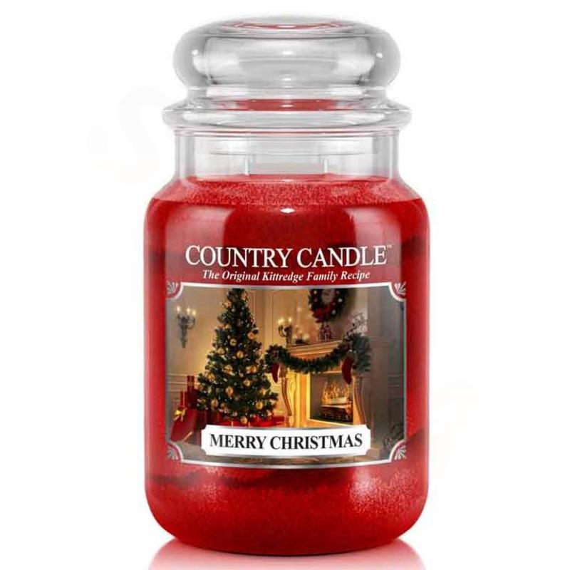 Country Candle Velká vonná svíčka ve skle Merry Christmas 652g