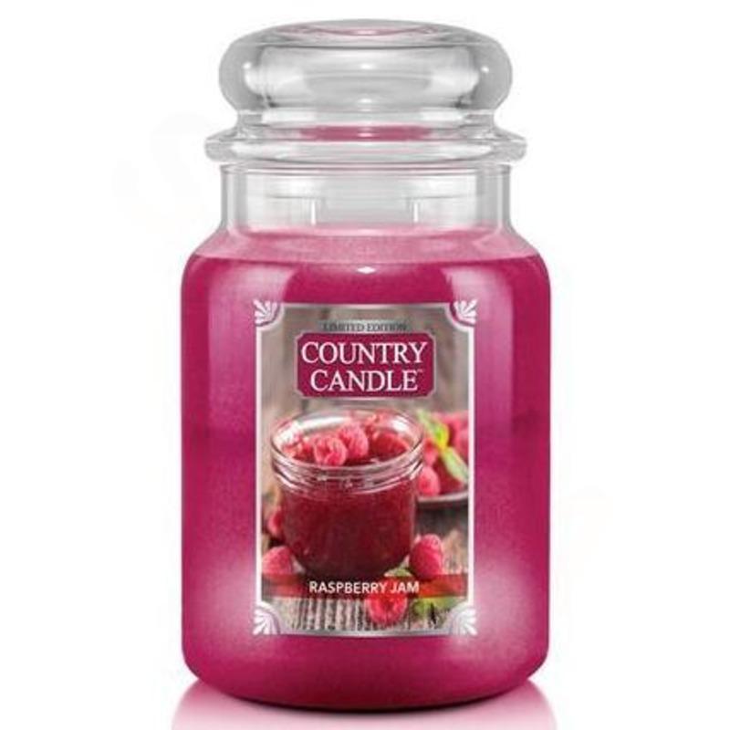 Country Candle Velká vonná svíčka ve skle Raspberry Jam 652g