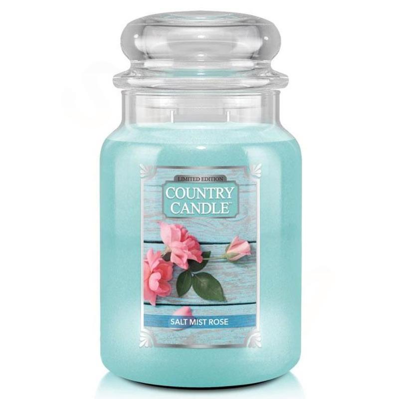 Country Candle Velká vonná svíčka ve skle Salt Mist Rose 652g