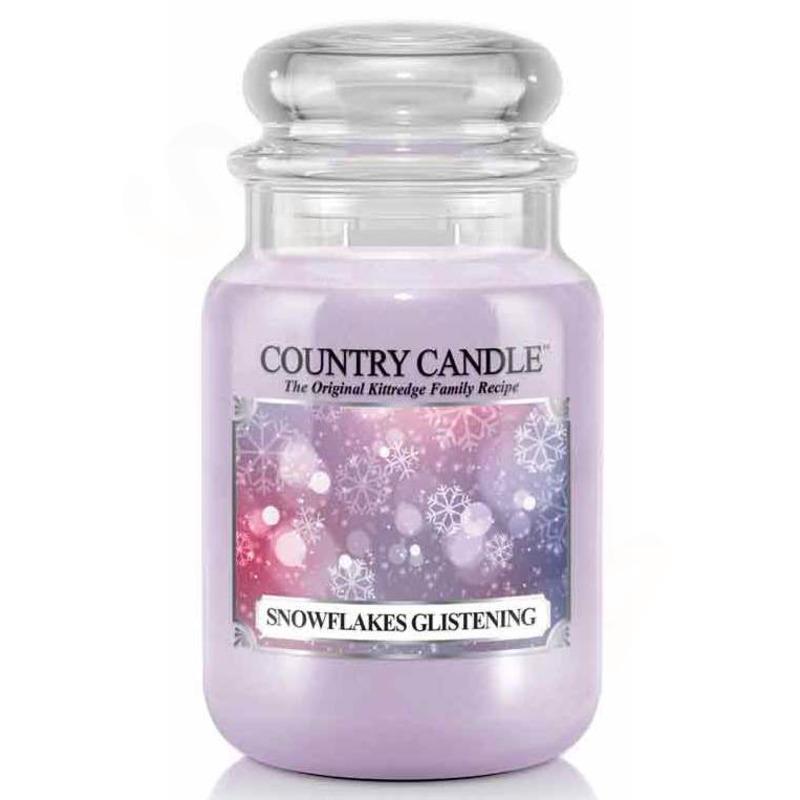Country Candle Velká vonná svíčka ve skle Snowflakes glistening 652g