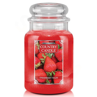 Country Candle Velká vonná svíčka ve skle Strawberry Fields 652g