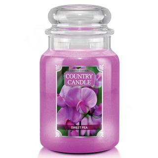 Country Candle Velká vonná svíčka ve skle Sweet Pea 652g