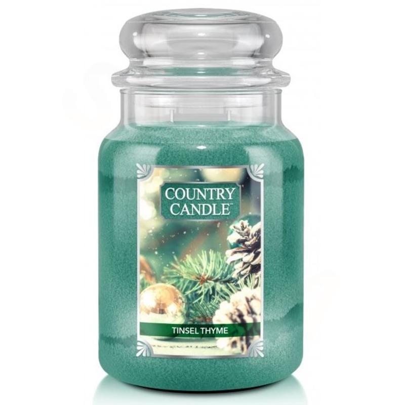 Country Candle Velká vonná svíčka ve skle Tinsel Thyme 652g