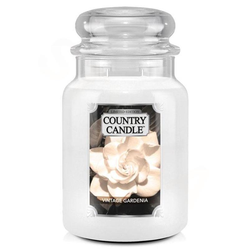 Country Candle Velká vonná svíčka ve skle Vintage Gardenia 652g