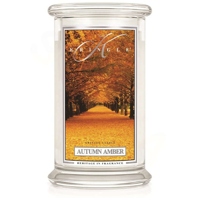 Kringle Candle  Velká vonná svíčka ve skle Autumn amber 624g