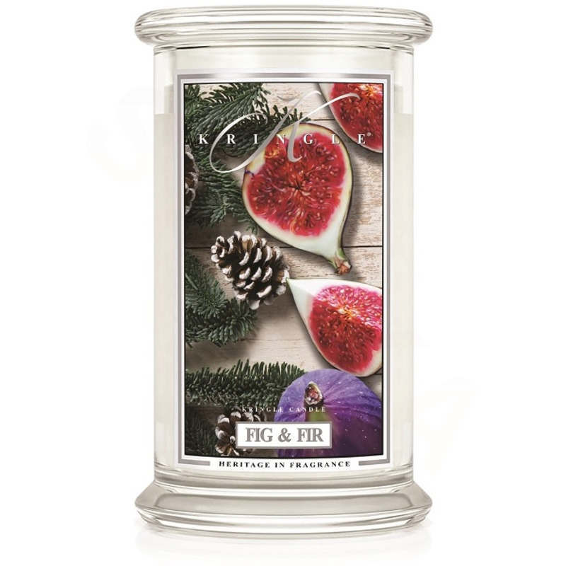 Kringle Candle  Velká vonná svíčka ve skle Fig and Fir 624g