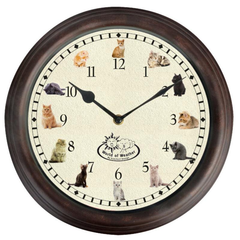 Ostatní Nástěnné hodiny s kočičími zvuky