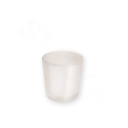 Skleněný svícen na votivní svíčku - mléčný