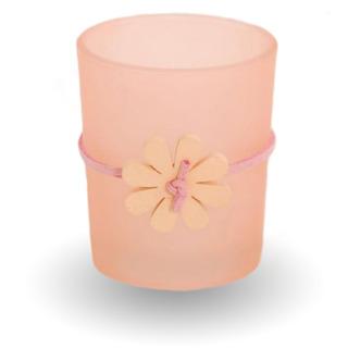 Bridgewater Candle Skleněný svícen na votivní svíčku - růžový
