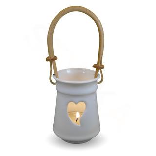 IM Ateliér Malý keramický svícen s ratanovým uchem - srdce