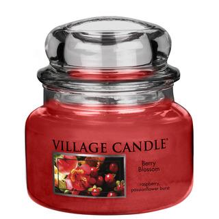 Village Candle Malá vonná svíčka ve skle Berry Blossom 262g - Červené květy