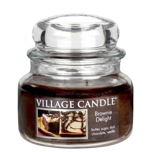 Village Candle Brownie Delight 262g - malá vonná svíčka ve skle Čokoládový dortík