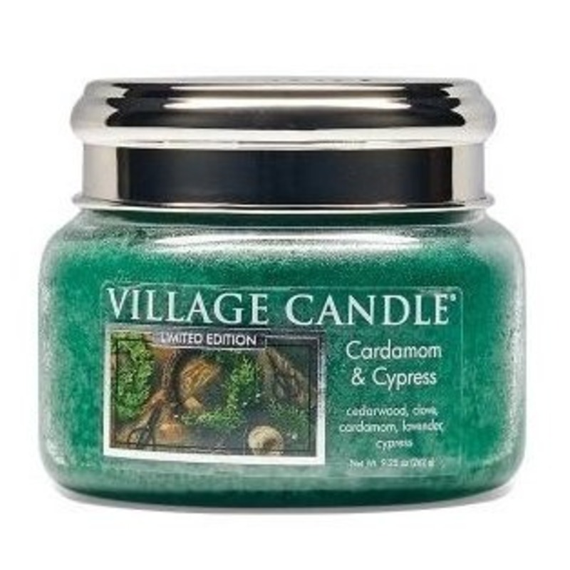 Village Candle Malá vonná svíčka ve skle Cardamom and Cypress 262g - Kardamon a cypřiš
