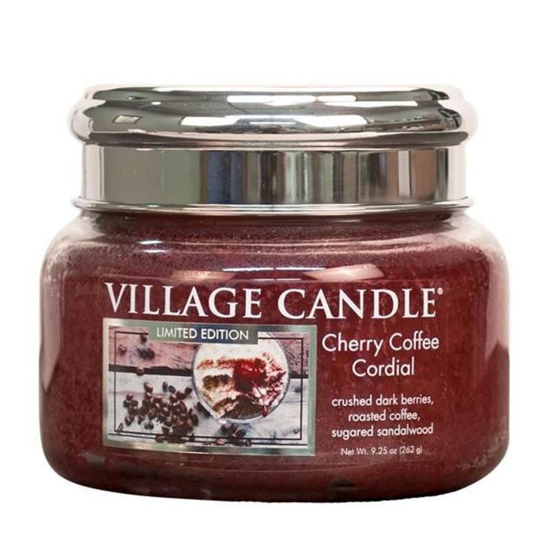 Village Candle Malá vonná svíčka ve skle Cherry Coffee Cordial 262g - Třešňovo kávový likér