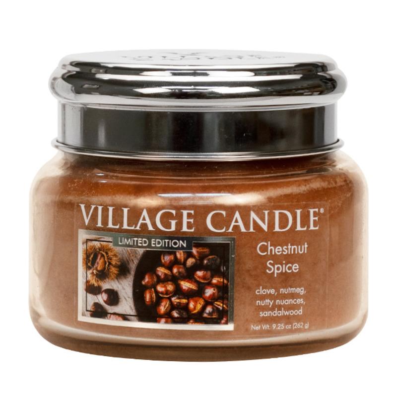Village Candle Malá vonná svíčka ve skle Chestnut Spice 262g - Pečené kaštany
