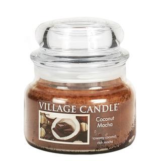 Village Candle Malá vonná svíčka ve skle Coconut Mocha 262g - Kokosové moka