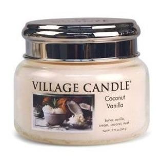 Village Candle Malá vonná svíčka ve skle Coconut Vanilla 262g - Kokos a vanilka