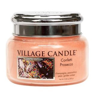 Village Candle Malá vonná svíčka ve skle Confetti Prosecco 262g - Konfety a Prosecco