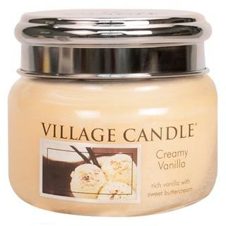 Village Candle Malá vonná svíčka ve skle Creamy Vanilla 262g - Vanilková zmrzlina