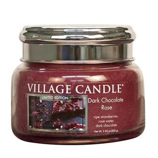 Village Candle Malá vonná svíčka ve skle Dark Chocolate Rose 262g - Čokoládová růže