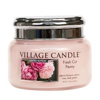 Village Candle Malá vonná svíčka ve skle Fresh Cut Peony 262g - Pivoňky