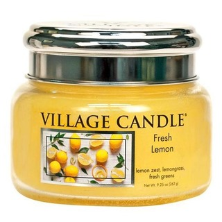 Village Candle Malá vonná svíčka ve skle Fresh Lemon 262g