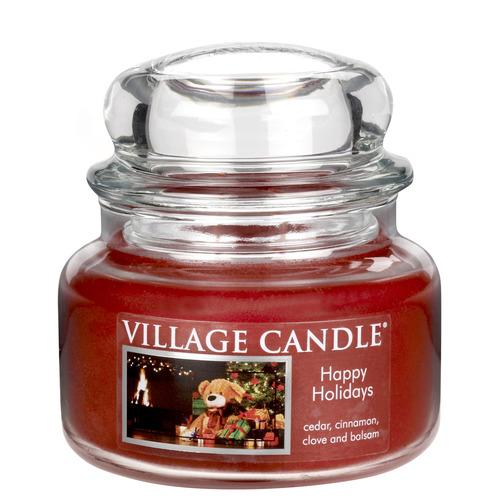 Village Candle Happy Holidays 262g - malá vonná svíčka ve skle Šťastné Vánoce