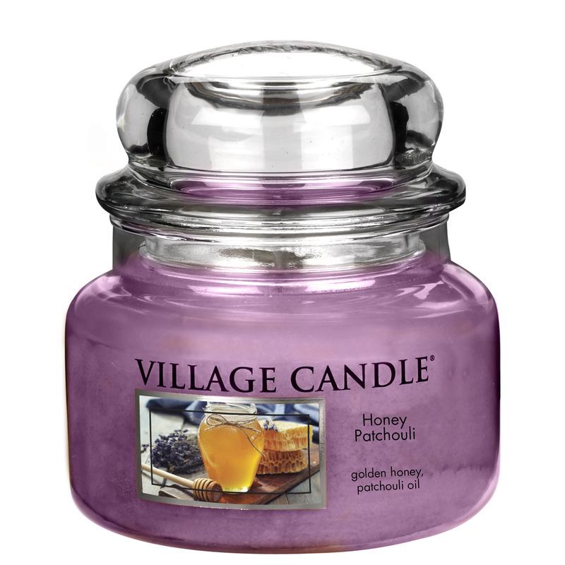 Village Candle Malá vonná svíčka ve skle Honey Patchouli 262g - Med a pačuli