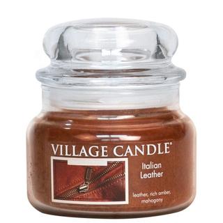 Village Candle Malá vonná svíčka ve skle Italian Leather 262g - Italská kůže