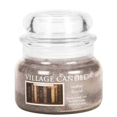 Village Candle Leather Bound 262g - malá vonná svíčka ve skle Nádech minulosti