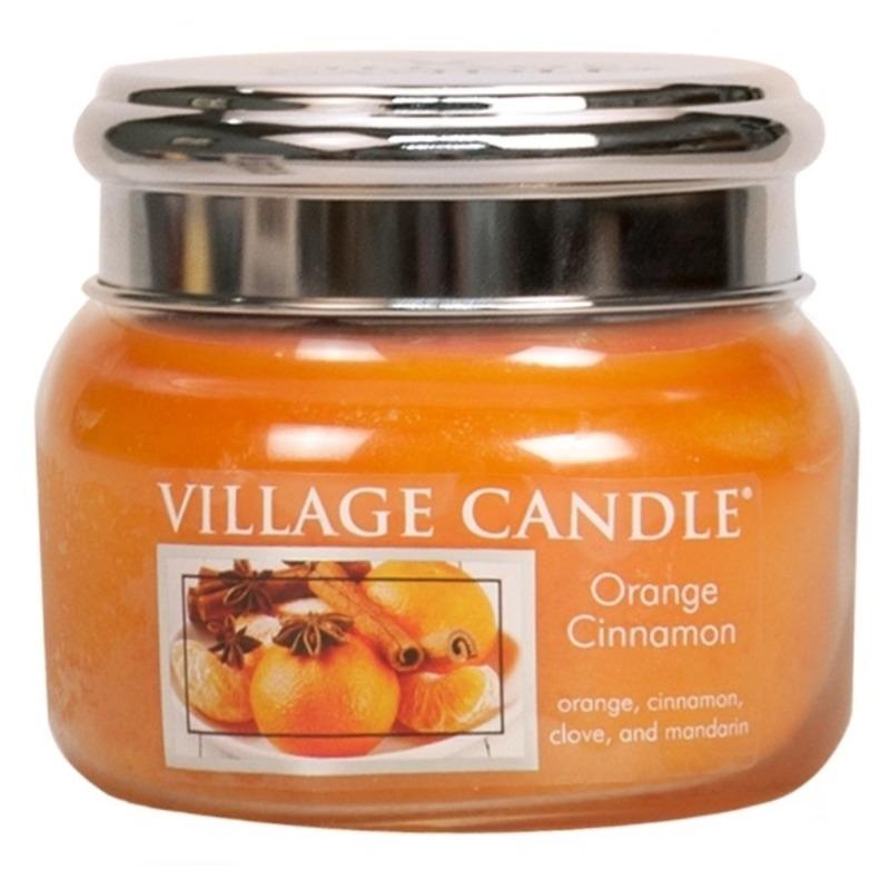 Village Candle Malá vonná svíčka ve skle Orange Cinnamon 262g - Pomeranč a skořice