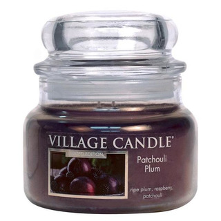 Village Candle Malá vonná svíčka ve skle Patchouli Plum 262g - Švestka a pačuli