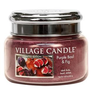 Village Candle Malá vonná svíčka ve skle Purple Basil and Fig 262g - Fialová bazalka a fík