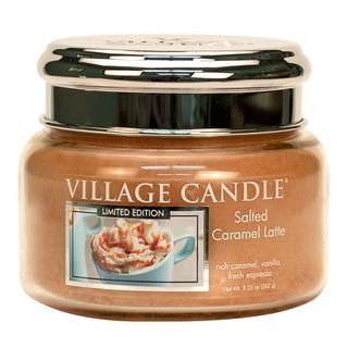 Village Candle Malá vonná svíčka ve skle Salted Caramel Latte 262g