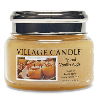 Village Candle Malá vonná svíčka ve skle Spiced Vanilla Apple 262g - Pečené vanilkové jablko