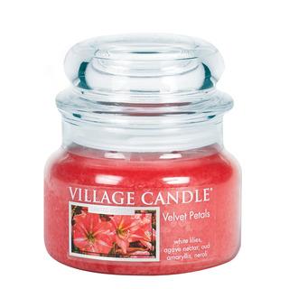 Village Candle Malá vonná svíčka ve skle Velvet Petals 262g - Sametové květy