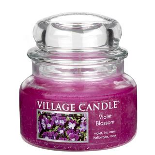 Village Candle Malá vonná svíčka ve skle Violet Blossom 262g - Fialky