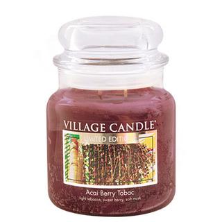 Village Candle Střední vonná svíčka ve skle Acai Berry Tobac 397g - Tabák a plody akai