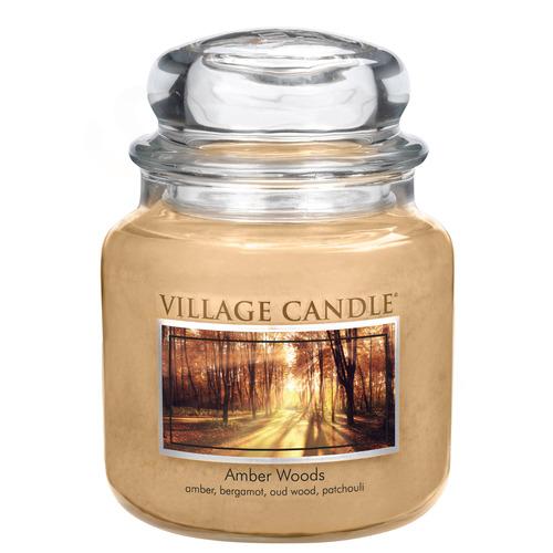 Village Candle Amber Woods 397g - střední vonná svíčka ve skle Jantarové tóny lesa