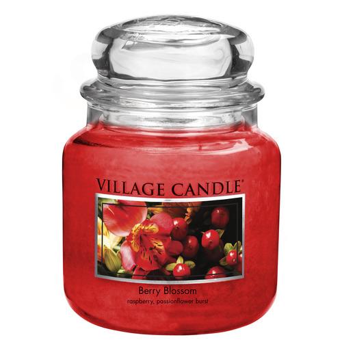 Village Candle Berry Blossom 397g - střední vonná svíčka ve skle Červené květy