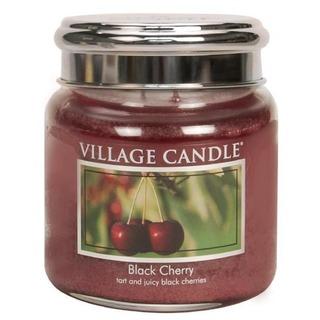 Village Candle Střední vonná svíčka ve skle Black Cherry 397g - Černá třešeň